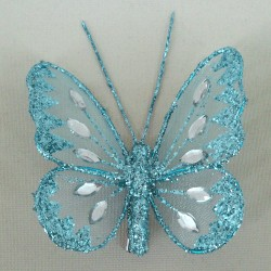 8cm Gauze Butterflies on Clip (6 pack) Aqua - BF008a