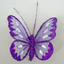 8cm Gauze Butterflies on Clip (6 pack) Purple - BF006a