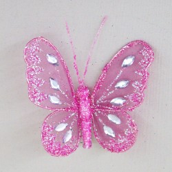 8cm Gauze Butterflies on Clip (6 pack) Pink - BF014