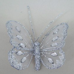 8cm Gauze Butterflies on Clip (6 pack) Silver - BF010