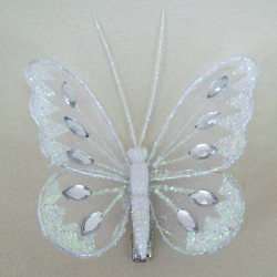 8cm Gauze Butterflies on Clip (6 pack) White - BF009