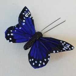 9cm Butterflies on Clip (6 pack) Dark Blue - BF022