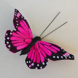 9cm Butterflies on Clip (6 pack) Hot Pink - BF023