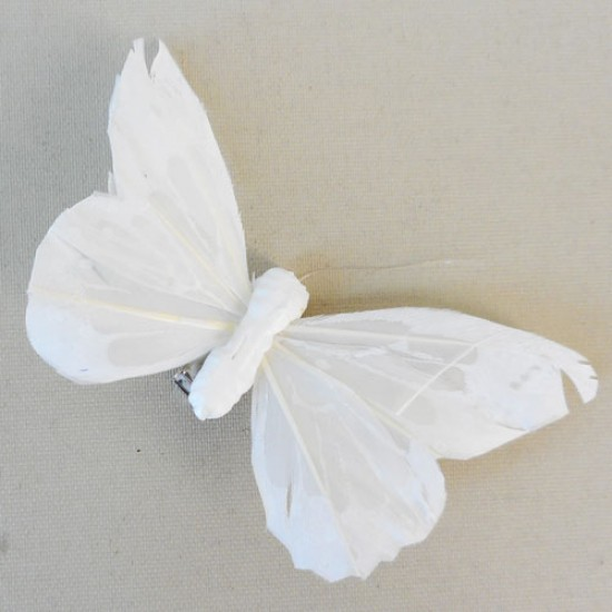 9cm Butterflies on Clip (6 pack) Ivory - BF027