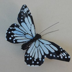 9cm Butterflies on Clip (6 pack) Pale Blue - BF020