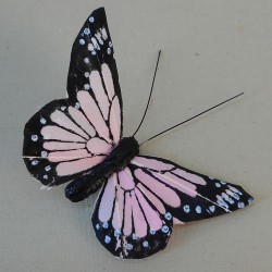 9cm Butterflies on Clip (6 pack) Pink - BF026