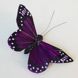 9cm Butterflies on Clip (6 pack) Purple - BF024
