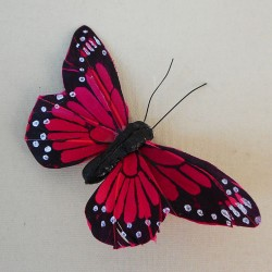 9cm Butterflies on Clip (6 pack) Red - BF025