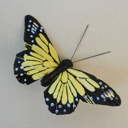 9cm Butterflies on Clip (6 pack) Yellow - BF028