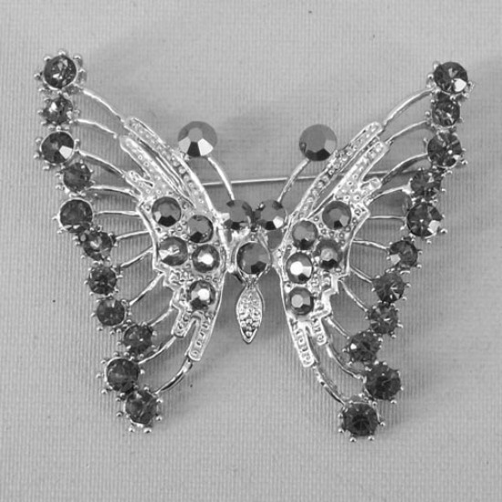 Diamante Butterfly Brooch Black Silver - BF017