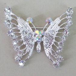 Diamante Butterfly Brooch Silver - BF016