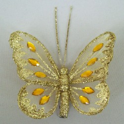 8cm Gauze Butterflies on Clip (6 pack) Gold - BF011a