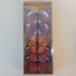 8cm Natural Style Butterflies on Clip (6 pack) Orange Brown - BF030