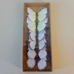 8cm Natural Style Butterflies on Clip (6 pack) White Brown - BF031
