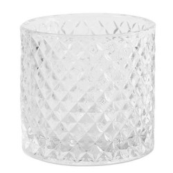 Clear Glass Whiskey Tumbler Candle Holder 8.5cm - GL027 2C