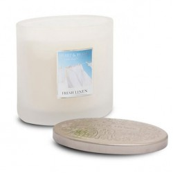 Heart and Home Ellipse Twin Wick Candle Fresh Linen 230g - HH043