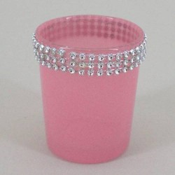 Glass Votive Candle Holder Pink Sparkle - GL011c 5C