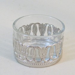 Glass Tea Light Candle Holders with Silver Decoration - GL106 8B