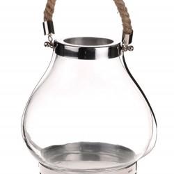 Large Chrome and Glass Bulb Lantern - LAN004