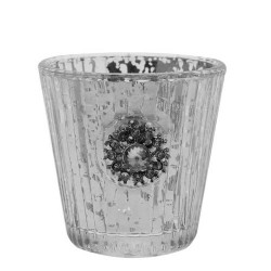 Mercury Glass Votive Candle Holder Antique Silver - GL090 8D