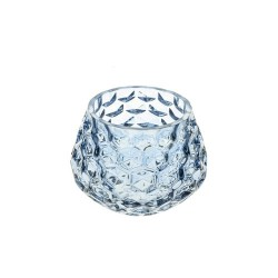Retro Glass Tea Light Holder Blue - GL127 2E