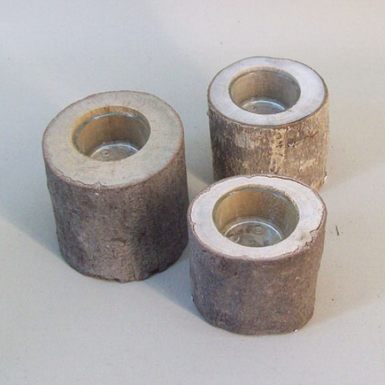 Rustic Birch Log Tea Light Holders Pack of 3 - RUS004 10A