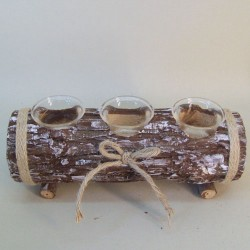 Rustic Log Tea Light Holder - RUS005 10A