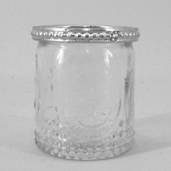 Vintage Pressed Glass Votive Candle Holders with Silver Rim - GL103 8B