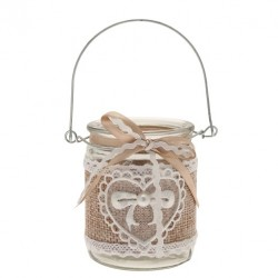 Hessian and Lace Clear Glass Votive Candle Holder - GL073 9C