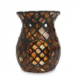 Heart and Home Wax Melt Burner Black and Gold Mosaic - HH063