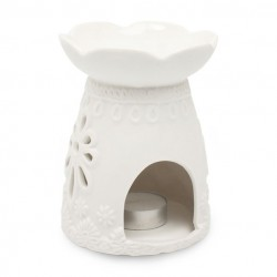 Heart and Home Wax Melt Burner Matt Cream Flowers - HH065