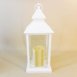 White Lantern with LED Candle 38.5cm - LAN005