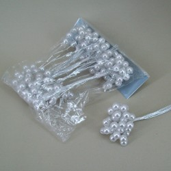 10mm Pearl Branches White and Silver - CRY030