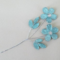 Crystal and Diamante Flower Pick Aqua  - CRY052