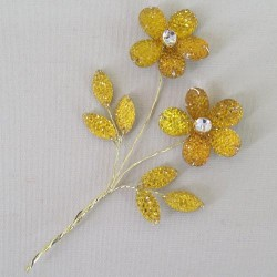 Crystal and Diamante Flower Pick Gold - CRY055