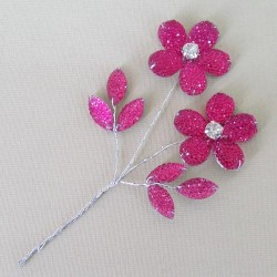 Crystal and Diamante Flower Pick Hot Pink - CRY053