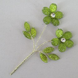 Crystal and Diamante Flower Pick Lime Green - CRY050