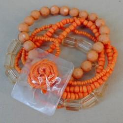 Pot Pourri Orange Wrist Corsage Bracelet - WCOR126