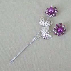Vintage Diamante Flower Picks Amethyst (6 pack) - CRY043
