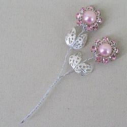 Vintage Diamante Flower Picks Baby Pink (6 pack) - CRY045