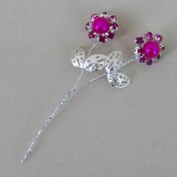 Vintage Diamante Flower Picks Hot Pink (6 pack) - CRY046