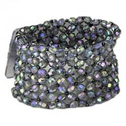 Classic Black Iridescent Wrist Corsage Bracelet - WCOR121