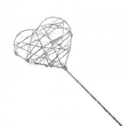 Glitter Heart Fairy Wand Silver - WAN003