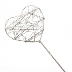 Glitter Heart Fairy Wand White Iridescent - WAN002