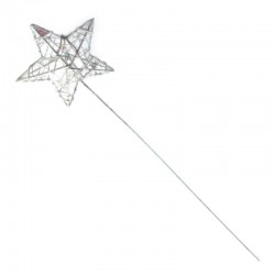 Glitter Star Fairy Wand White Iridescent - WAN005