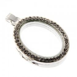 Rhinestone Locket Charm Silver Oval - CHA001