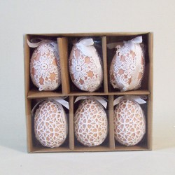 Easter Decorations | Lace Covered Hanging Eggs Boxed - EGG002