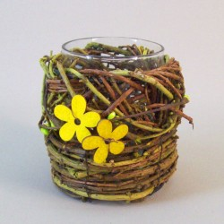 Glass Candle Holder in Flower Basket Yellow - CAN031 8D