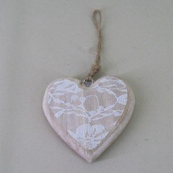 Home Decor Wooden Heart Hanger with Lace - 14X161