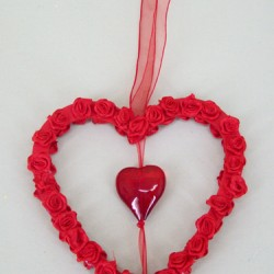 Ribbon Rose Heart Hanger - VAL004 LL2